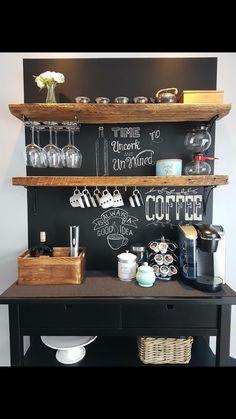 62 coffee bar home decor ideas - Home Coffee Stations Wine And Coffee Bar, Coffee Bars In Kitchen, Coffee Bar Home, Home Coffee Stations, Coffee Bar Ideas, Kitchen Small, Farm Kitchen Ideas, Farmhouse Kitchen Decor, Home Decor Kitchen