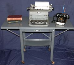 Vintage Gray Metal Typewriter Table With 2 Folding Leaves Shelf Drawer U0026  Wooden Wheels