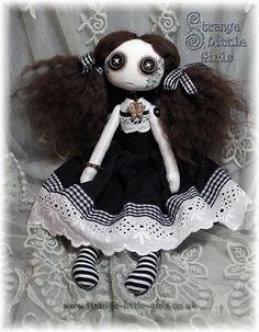 OOAK vegan Gothic Lolita cloth art doll 'Hazel Wychwood' by Strange Little Girls  #GothicDoll #GothicLolita #ButtonEyes
