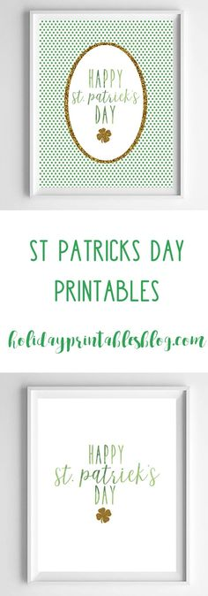 free st. patricks day printable art! green polka dot and gold glitter st. patrick's day art for your home or wall decor!
