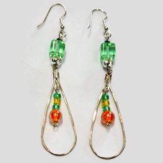 Hoop Earrings with Glass Beads,Glass Bead Earrings,Cube Beads Earrings,Green Bead Earrings,Orange Glass Beads,Silver Hoop Earrings,oval hoop by SunMoonJewels on Etsy