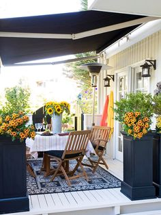 Add an Awning Protect family and guests with a retractable awning over your patio or deck. Choose an awning that mounts directly to your house to create a covered, open-air space that allows you to enjoy the outdoor room even on rainy or hot days.