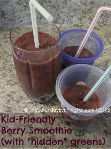 """Dairy Free Kid Friendly Berry #Smoothie (with """"hidden"""" greens)... yummy! #recipe #snack #breakfast"""