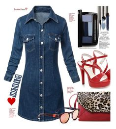"""""""SAMMYDRESS.COM: Denim Love"""" by hamaly ❤ liked on Polyvore featuring Lancôme, shoes, ootd, dresses, bags and sammydress"""