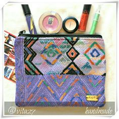 """Handmade makeup bag, pouch. Recycled textile make up bag. Each bag is handmade in Guatemala with care, dedicated skill and is one of a kind! Very nice rich color and texture.  Details: 8"""" x 6"""", recycled textile, feels like cotton blend, lining 100% polyester, handmade in Guatemala.  Please use only ✔OFFER  button for all price negotiations. I'll do a price drop⤵ for you for discounted shipping, if we agree about the price. Ketzali Bags Cosmetic Bags & Cases"""