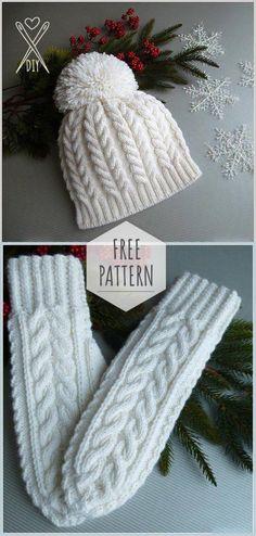 402e95f23ff Knitting Winter White Set Free Pattern Knitted Mittens Pattern