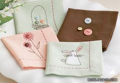 Beautiful handmade napkins.  An excellent Easter gift for your hostess