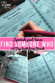 Find Someone Who - Holiday Break (past tense) for Spanish class. A perfect no prep activity for the first day back from winter break. There are versions to work with every level of Spanish class! Spanish Basics, Ap Spanish, Spanish Lessons, How To Speak Spanish, Spanish Teacher, Teaching Spanish, Teaching French, 1st Day, First Day Of School