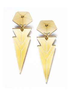 Nomi Arrow earring by Zarah Voight. I think this person is a genius. Made out of... Plexiglas I think. Danish Krone, but I think around 200 dollars?