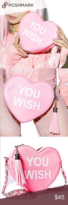 You Wish Pink Heart Valentine Handbag NWOT. Flawless condition. No trades. Price is firm. Dolls Kill Bags