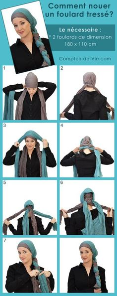 a771a539a518c 104 Best Foulard pour coiffer images   Scarf headbands, Hairstyle ...