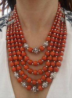 Natural Coral Necklace, Coral Multi Strand Necklace, Reddish orange
