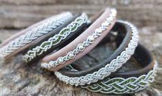 Kombinationen in altrosa und olivgrün_ Armbänder nach Art der Saami