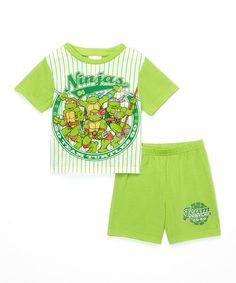 Look at this Green & White Teenage Mutant Ninja Turtles Pajama Set - Toddler on #zulily today!