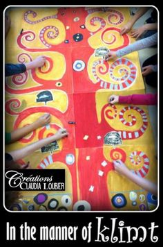 Autumn Art Project: Im Stil von Gustav Klimt – Keep up with the times. Art History Projects For Kids, Group Art Projects, Collaborative Art Projects, Fall Art Projects, School Art Projects, Gustav Klimt, Klimt Art, Artist Project, Der Plan