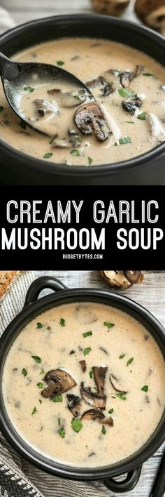 This rich and Creamy Garlic Mushroom Soup is perfect for fall with it's deep earthy flavors. Serve with crusty bread for dipping! dinner winter Creamy Garlic Mushroom Soup from Scratch - Budget Bytes Soup Recipes, Vegetarian Recipes, Cooking Recipes, Healthy Recipes, Venison Recipes, Water Recipes, Easy Cooking, Recipes Dinner, Skinny Recipes
