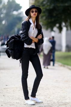 Pin for Later: 50 Outfits That Prove 2014 Was Officially the Year of Sneakers  Here's the Parisian-chic way to work your white low-tops.
