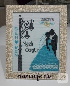 Hobbies And Crafts, Diy And Crafts, Wedding Cross Stitch, Wedding Embroidery, Cross Stitch Heart, Wedding Announcements, Banner, Crochet Hats, Gifts