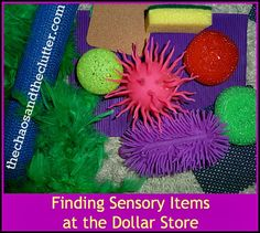 finding sensory items at the dollar store