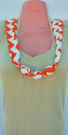 Nursing Teething Necklace- 100% cotton fabric covered natural wooden beads-  Orange Chevron #design #breastfeeding