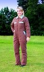 Ladies Insulated Coverall in Chocolate Brown w/ Blue Trim.  Designed by a GA girl and Made in the USA!  We also have pink!  www.glamouralls.com