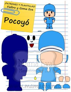 Risultato immagini per pocoyo decoracion cumpleaños Felt Diy, Felt Crafts, Diy And Crafts, Felt Patterns, Stuffed Toys Patterns, Applique Patterns, Picture Templates, Ideas Para Fiestas, Felt Ornaments