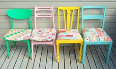 Vintage chairs, painted and with new patchwork seatcovers.  I also need to  make a red  and a orange chair.