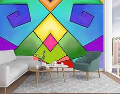 This design was created using the app Procreate. I was inspired by geometrical decor. New Work, Behance, Graphic Design, Wallpaper, Gallery, Creative, Check, Inspiration, Home Decor