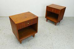 pair mid century modern walnut single drawer nightstands end