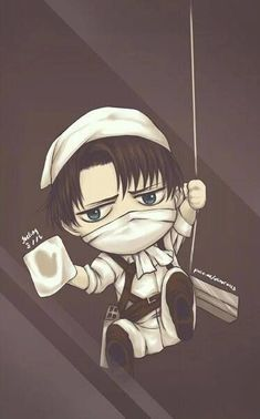 Attack On Titan É€²æ'ƒã®å·¨äºº Levi Ackerman Chibi Cleaning Wallpaper Anime Wallpaper Anime Attack On Titan Anime