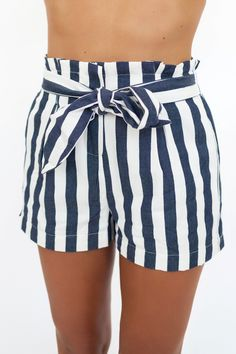 Navy Striped Ribbon Tie Shorts - Dottie Couture Boutique