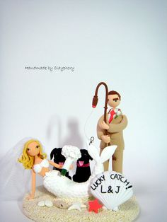 Lucky catch customized wedding cake topper with dogs by Clayphory