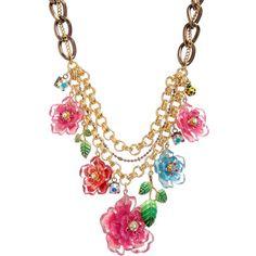 Betsey Johnson 'Hawaiian Luau' Floral Bib Statement Necklace found on Polyvore