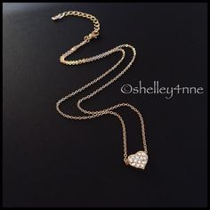 Gold Plated Pavé Heart Necklace Limited quantities available! T&J Designs Jewelry Necklaces