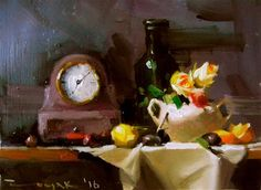 "Daily Paintworks - ""Clock flowers and vase"" - Original Fine Art for Sale - © Dragan Culjak"