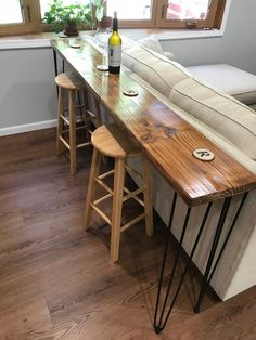landscape architecture - Reclaimed Wood Bar Table with Hairpin Legs Custom Sofa Bar, Wine Bar Wood Table, Live Edge Wood Bar Table, Bar Tables, Sofa Tables, Bar Table Diy, Bar Table Design, Sofa Dining Table, Narrow Dining Tables, Wood Bar Top, Ikea Sofa Table