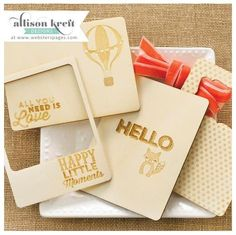 """Webster's Pages - Allison Kreft Designs - Hello World - 3x4"""" Wood Veneer Cards - Featured Products 