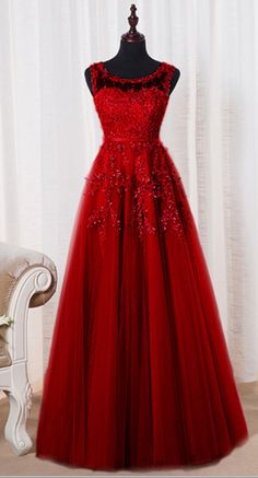 Dark Red Tulle Evening Dresses, A-line Round Neckline #prom #promdress #dress #eveningdress #evening #fashion #love #shopping #art #dress #women #mermaid #SEXY #SexyGirl #PromDresses