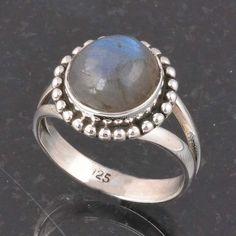 BLUE FIRE LABRADORITE 925 SOLID STERLING SILVER FASHION RING 4.42g DJR6406 #Handmade #Ring