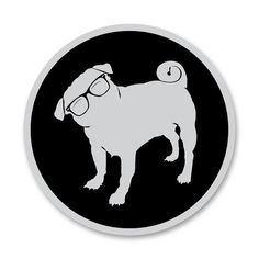 Pug Sticker Cute pug puppy decals Pug with Glasses by badspade, $7.00