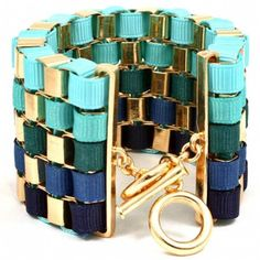 Madiya's Blue Ribbon Wrapped Gold Chain Link Bracelet - As Seen In All You Magazine - Only $49.95 — Fantasy Jewelry Box