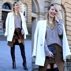 Leonie Hanne - Blazer, Lace Up Boots, Skirt, Mini Bag, Knit - Lace up boots & soft shades | ohhcouture.com