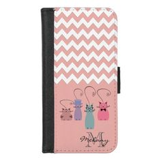 Chevron Cute funny colorful cats  monogram iPhone 8/7 Wallet Case