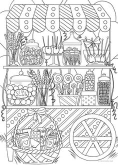 Candy Shop - Printable Adult Coloring Pages from Favoreads Are you a sweet tooth? Try this new adult coloring page with lots of your favorite candies. Candy Coloring Pages, Ice Cream Coloring Pages, Easter Egg Coloring Pages, Adult Coloring Book Pages, Coloring Books, Colouring Pages For Adults, Free Adult Coloring, Printable Adult Coloring Pages, Candy Shop
