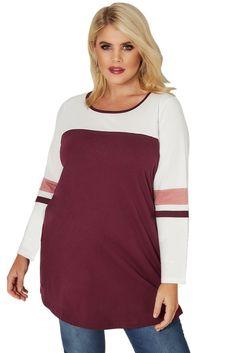 fe294d5d29 Burgundy Color Block Long Sleeve Plus Size Tops. Plus Size T ShirtsPlus ...
