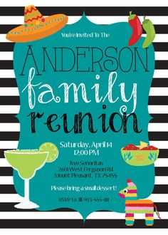 FIESTA Party FAMILY REUNION Vintage Black White by MolsDesigns, $15.00 Fiesta invitation fiesta invite fiesta birthday fiesta shower mexican party mexian food margaritas peppers