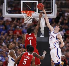 Kansas center Jeff Withey blocks an attempt by NC State ~ Withey ends game with 10 blocks ~ #2 KU vs #11 NC State ~ 3.23.12