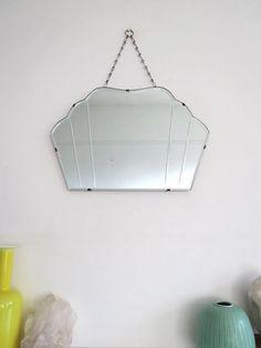 Superieur Vintage Art Deco Bevelled Fan Shape Mirror