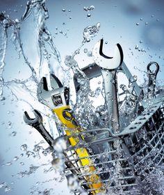 A Still Life Product Photographer Pedersen  water ripple liquid bubble splash pour spray underwater cool fresh aqua clean tools spanner