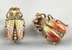 Two Art Nouveau 14kt Gold, Enamel, Seed Pearl, and Diamond Insect Brooches | Sale Number 2586B, Lot Number 411 | Skinner Auctioneers